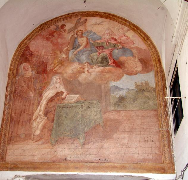chiostro-del-monastero-del-salvatore-affresco-con-madre-serafina-sec-xviii